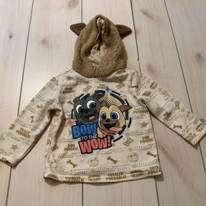 girls 2T Disney pug power hoodie shirt